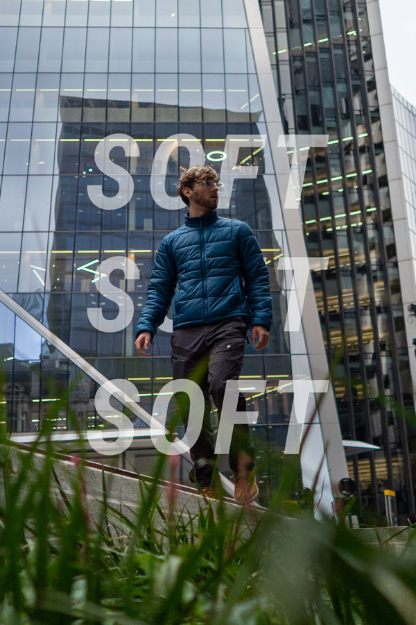 Man walks through the city