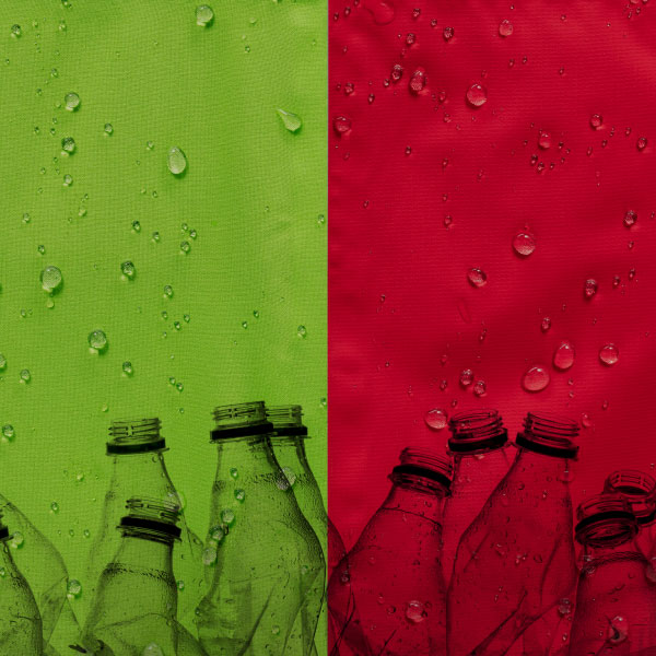 Jackets and plastic bottles against a coloured background